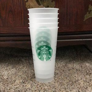 5 Starbucks frosted/clear cups no lids or straws